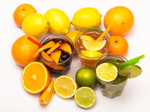 Cocktails with different citrus fruits Royalty Free Stock Images
