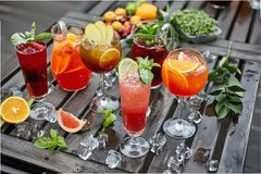 Cocktails of different colors royalty free stock photos