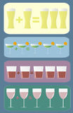Cocktails discount. Colourful cocktail , wine, beer and shot glasses. Discount - one plus one equal three Royalty Free Stock Photography