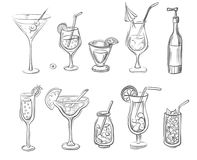 Cocktails doodled vector illustration Stock Photos