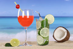 Cocktails and drinks on the beach with sand Royalty Free Stock Photo