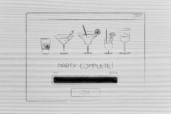 Party complete pop-up message with cocktail glasses Stock Images