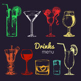 Cocktails, drinks and glasses for bar, restaurant, cafe menu. Hand drawn alcoholic beverages vector illustrations set. Stock Photography
