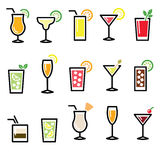 Cocktails, drinks glasses vector icons set Stock Images