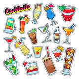 Cocktails and Drinks Set for Stickers, Badges and Patches Stock Images