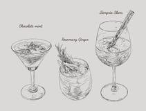Cocktails - ensemble de boissons tirées par la main, menthe de chocolat, RO de gingembre Photo libre de droits