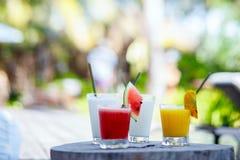 Cocktails et jus exotiques images libres de droits