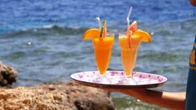 Cocktails exotiques dans un verre avec une paille sur un plateau sur le fond de la mer ?gypte banque de vidéos