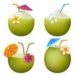 Cocktails exotiques de noix de coco Image stock