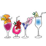 Cocktails with flowers and pineapple hand drawn Stock Image