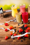 Cocktails with fresh fruits, Vitamin and Fitness Royalty Free Stock Photos