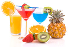 Cocktails with fruits Royalty Free Stock Photos