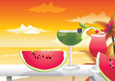 Cocktails and fruits  Royalty Free Stock Photo