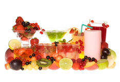 Cocktails with fruits and berries royalty free stock photo