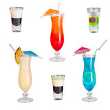 Cocktails geplaatst Blauwe Lagune, Pina Colada, Zonsopgang Stock Foto's