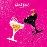 Cocktails in glass with golden glitter elements. Royalty Free Stock Photography