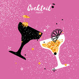 Cocktails in glass with golden glitter elements. Stock Photo