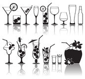 Cocktails and glasses with alcohol stock illustration