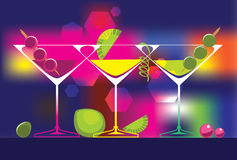 Cocktails glasses of alcoholic beverages on colored background. Vector set of drinks illustrations. Vector set of drinks illustrations Royalty Free Stock Image