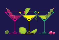 Cocktails glasses of alcoholic beverages on dark background. Isolated vector set of drinks illustrations. Vector illustrations of cocktails glasses of alcoholic Royalty Free Stock Photography