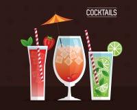 Cocktails glasses drink black background Stock Image