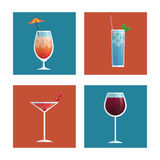 Cocktails glasses drink black background Royalty Free Stock Photos