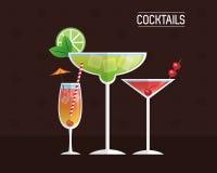Cocktails glasses drink black background Royalty Free Stock Images