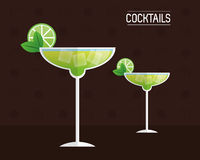 Cocktails glasses drink black background Royalty Free Stock Photography