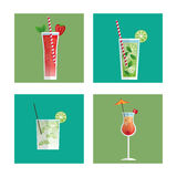 Cocktails glasses drink black background Stock Photography