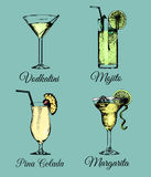 Cocktails and glasses. Hand sketched color alcoholic beverages. Vector set of drinks illustrations,Vodkatini,Mojito etc. Cocktails and glasses. Hand sketched stock illustration