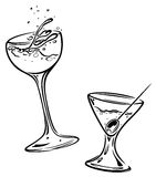 Cocktails, glasses Stock Images