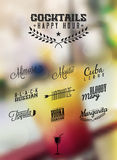 Cocktails Happy Hour Cocktails Label Royalty Free Stock Photos