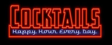 Cocktails Happy Hour Neon Sign royalty free illustration