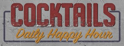 Cocktails Happy Hour Painted Sign on Building. Hand stucco daily party invitation vector illustration