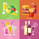 Cocktails, health food, fast food and vines Stock Photography