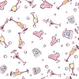 Cocktails and hearts on seamless background. For summer design. Summer background. Cute hand drawn summer time theme seamless pattern. Beach theme background Stock Photos