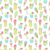 Cocktails and ice cream pattern  Royalty Free Stock Image
