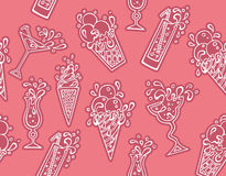 Cocktails icons pattern Royalty Free Stock Image