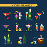 Cocktails icons set Stock Photo
