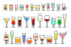 Cocktails Icons Royalty Free Stock Photos