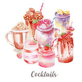 Cocktails illustration. Hand drawn watercolor on white background. Royalty Free Stock Image