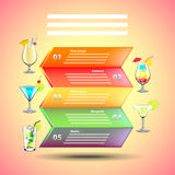 Cocktails infographics on colorful background. Vector template Royalty Free Stock Image