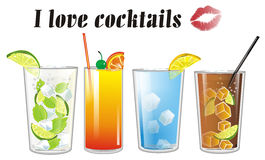 Cocktails with inscription Royalty Free Stock Images