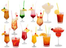 Cocktails isolated stock photos
