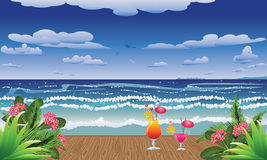Cocktails on jetty Royalty Free Stock Images