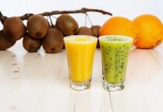 Cocktails from kiwi and orange Stock Photo