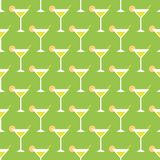 Cocktails and limes. Seamless pattern with summer cocktails, flat design Stock Image
