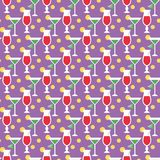 Cocktails and limes. Seamless pattern with summer cocktails, flat design Stock Images