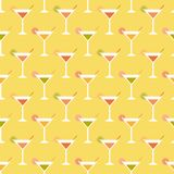 Cocktails and limes. Seamless pattern with summer cocktails, flat design Stock Photos