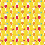 Cocktails and limes. Seamless pattern with summer cocktails, flat design Royalty Free Stock Photo